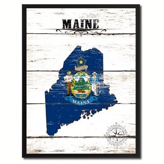 Maine State Vintage Flag Canvas Print Picture Frame Home Decor Wall Art