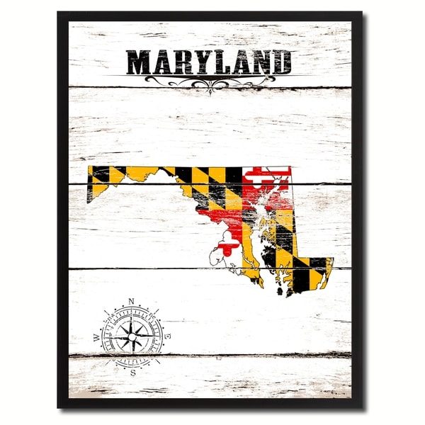 Maryland State Vintage Flag Canvas Print Picture Frame Home Decor Wall Art