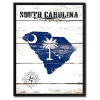 South Carolina State Vintage Flag Canvas Print Picture Frame Home Decor Wall Art