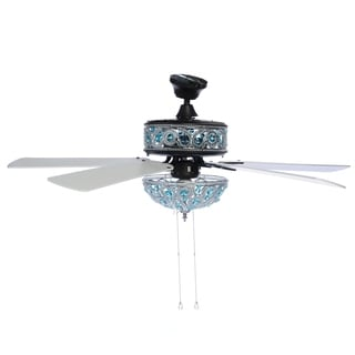 River of Goods Chandelier Turquoise Blue Crystal 50-inch Ceiling Fan With Remote Control