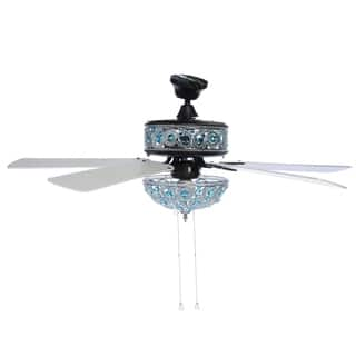 "River of Goods 50"" Chandelier Crystal Ceiling Fan with Remote Control - Turquoise - Blue