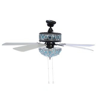 "River of Goods 50"" Chandelier Crystal Ceiling Fan with Remote Control - Turquoise - Blue"