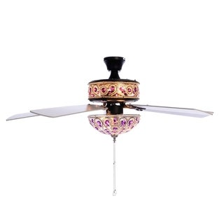 "River of Goods 50"" Chandelier Crystal Ceiling Fan with Remote Control - Purple"