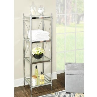 Link to Walker Chrome and Glass Four-tier Shelf Similar Items in Bathroom Furniture