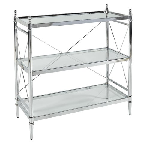 Walker Chrome and Glass Floor Console