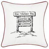 Eddie Bauer Ski Village Red Throw Pillow