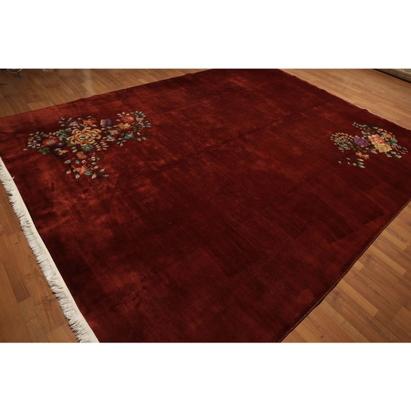 "Authentic Vintage Glam 1920's Pure Wool Oriental Area Rug - 8'9""x11'4"""