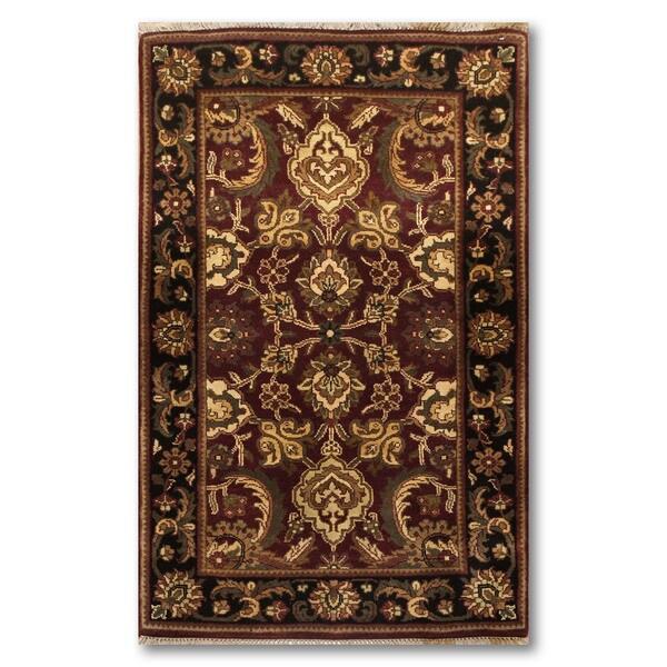 Ornamental Pure Wool Oriental Persian Area Rug - Black/Beige - 3' x 5'