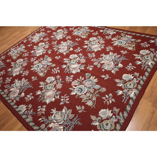 Eclectic Country Cottage Traditional Hand Woven Needlepoint Area Rug - multi