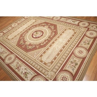 Hand Woven Formal Traditional Ornamental Needlepoint Aubusson Area Rug - 8'x10'