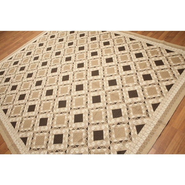 Transitional Hand Woven Needlepoint Flatweave Area Rug - 8'x10'
