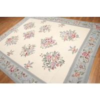 Rustic Botanical French Country Hand Woven Needlepoint Aubusson Flatweave Area Rug (8'x10')