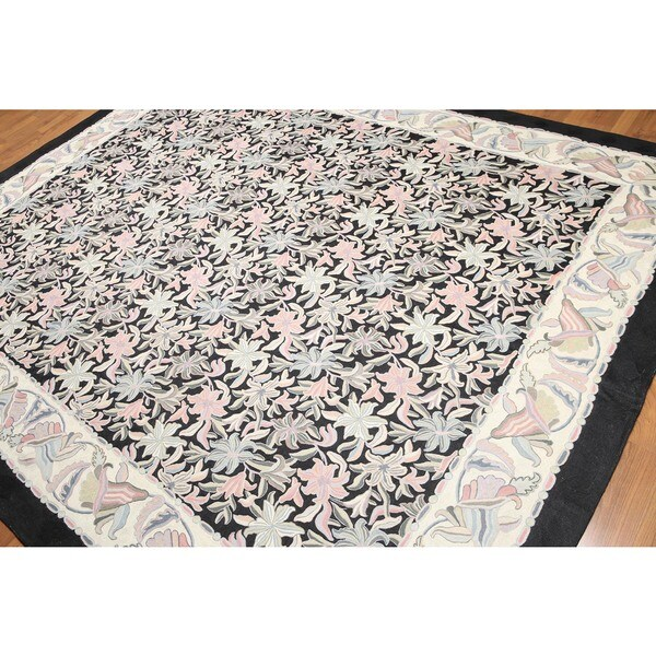 Hand Woven Traditional Patterned Chain Stitch Kashmiri Flatweave Area Rug - 8'x10'