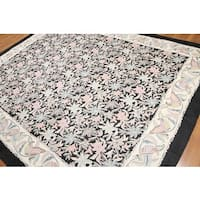 Hand Woven Traditional Patterned Chain Stitch Kashmiri Flatweave Area Rug - multi