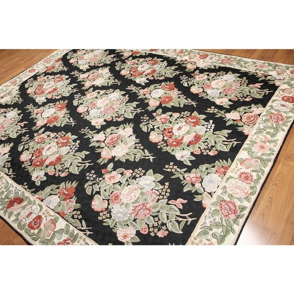 Intense Floral Frenzy Hand Woven Chain Stitch Kashmiri Flatweave Area Rug - 8'x10'