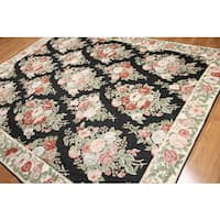 Intense Floral Frenzy Hand Woven Chain Stitch Kashmiri Flatweave Area Rug (8'x10')