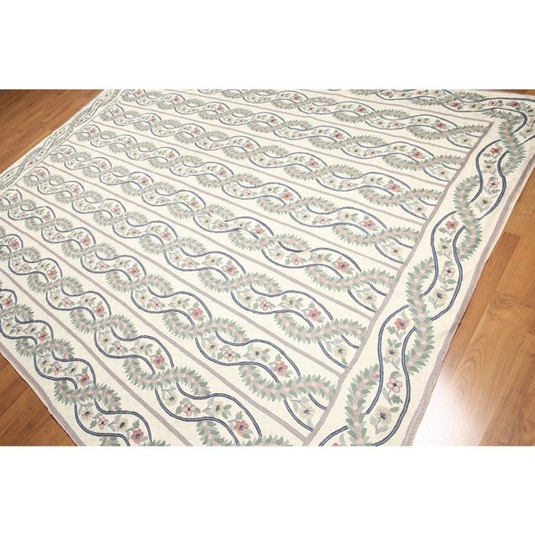 Hand Woven Country Cottage Chain Stitch Kashmiri Flatweave Area Rug - 8'x10'