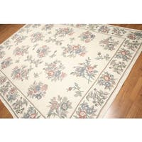 Floral Pastels Hand Woven Chain Stitch Kashmiri Flatweave Area Rug - multi