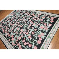 Transitional Floral Hand Woven Chain Stitch Kashmiri Flatweave Area Rug - 8'x10'