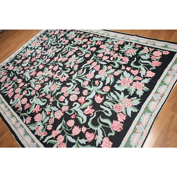 Transitional Floral Hand Woven Chain Stitch Kashmiri Flatweave Area Rug (8'x10')