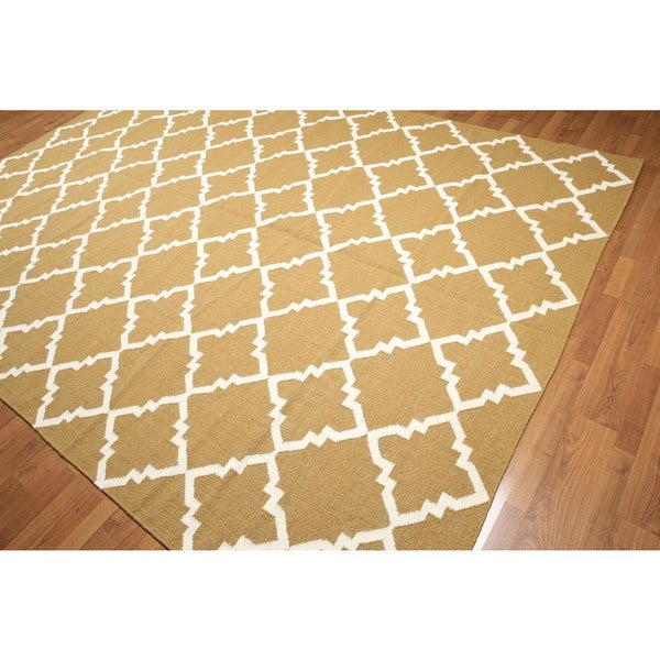 Contemporary Abstract Hand Woven Reversible Flatweave Dhurry Kilim Oriental Area Rug - 8'x10'