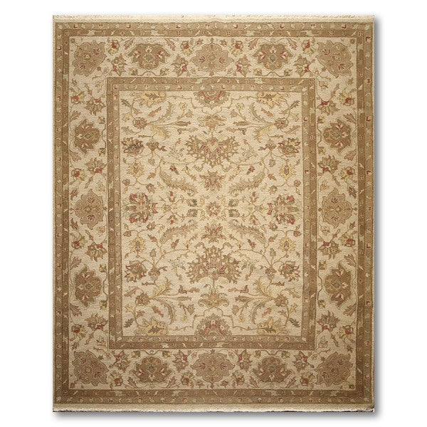 Global Traditional Hand Knotted Reversible Soumak Oriental Area Rug - Dirty Beige/Brown - 8' x 9'10""