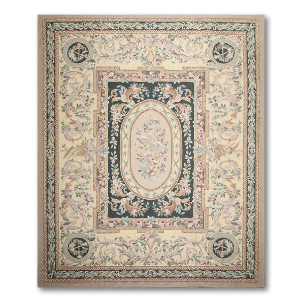 Botanical Floral Hand Woven Needlepoint Aubusson Area Rug (8'x10')