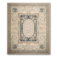 Botanical Floral Hand Woven Needlepoint Aubusson Area Rug - multi