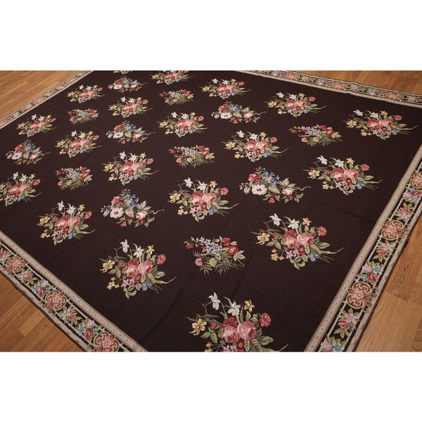 """Floral Country Cottage Hand Woven Needlepoint Aubusson Area Rug - 8'x10'7"""""""