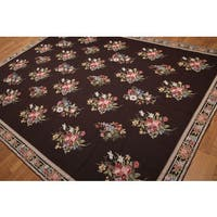 "Floral Country Cottage Hand Woven Needlepoint Aubusson Area Rug (8'x10'7"")"