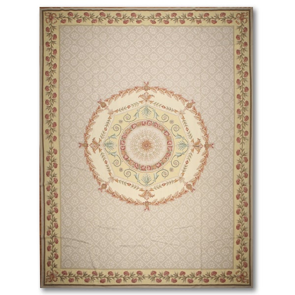 French Country Medallion Hand Woven Needlepoint Aubusson Area Rug (10'x14')
