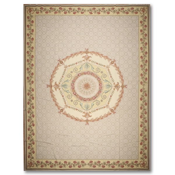 French Country Medallion Hand Woven Needlepoint Aubusson Area Rug - 10'x14'