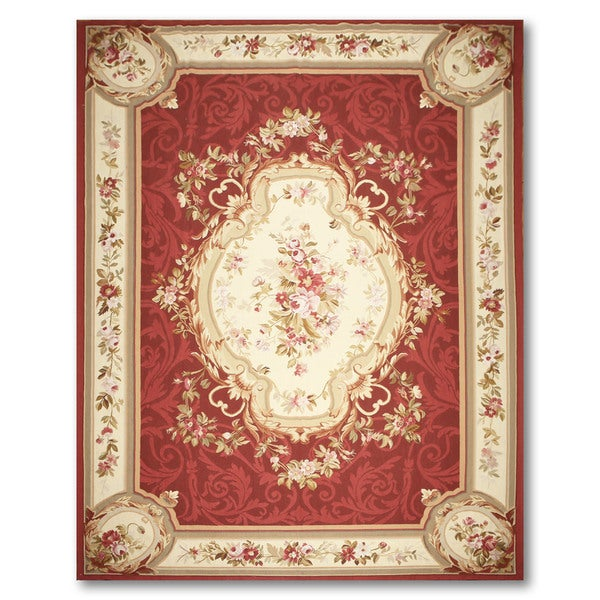 Hand Woven Ornamental Needlepoint Aubusson Area Rug - multi