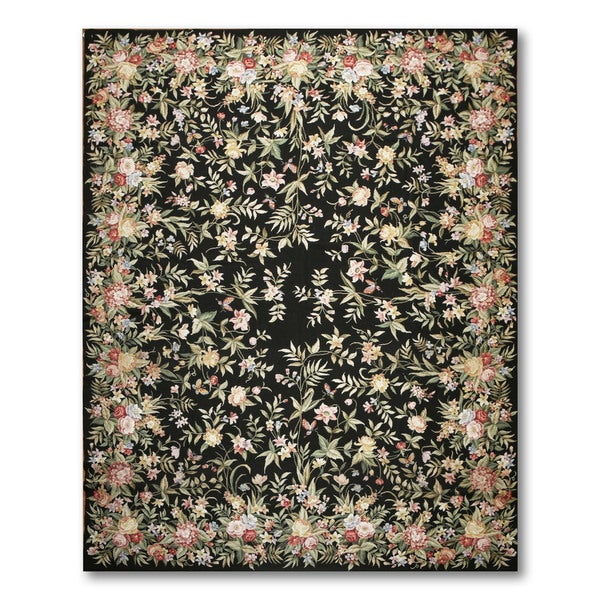 "Hand Woven Classic Country Cottage Needlepoint Aubusson Area Rug (9'x12'3"")"
