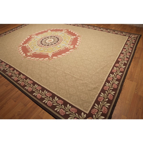 Hand Woven Traditional Victorian Needlepoint Aubusson Area Rug - multi