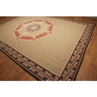 "Hand Woven Traditional Victorian Needlepoint Aubusson Area Rug (9'10""x13'8"")"