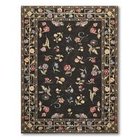 Hand Woven Traditional Floral Needlepoint Aubusson Area Rug - multi