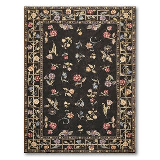 "Hand Woven Traditional Floral Needlepoint Aubusson Area Rug - 6'5""x8'9"""