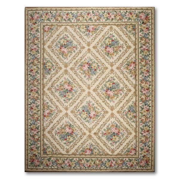 French Country Classic Hand Woven Needlepoint Aubusson Area Rug - 9'x12'