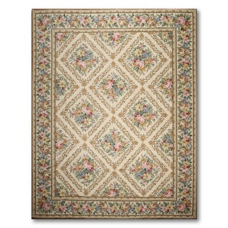 French Country Classic Hand Woven Needlepoint Aubusson Area Rug (9'x12')