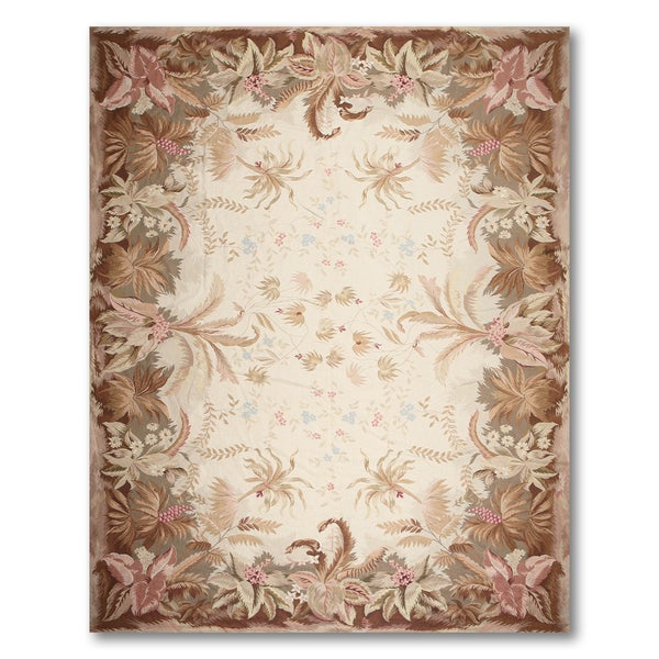 Rustic Botanical Hand Woven Needlepoint Aubusson Area Rug - 10'x14'