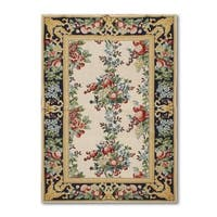 """Eclectic Victorian Traditional Hand Woven Needlepoint Aubusson Area Rug - 3'9""""x5'9"""""""