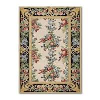 """Eclectic Victorian Traditional Hand Woven Needlepoint Aubusson Area Rug (3'9""""x5'9"""")"""