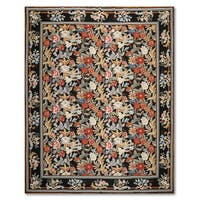 "Traditional Country Cottage Botanical Hand Woven Needlepoint Aubusson Area Rug - 7'8""x10'"