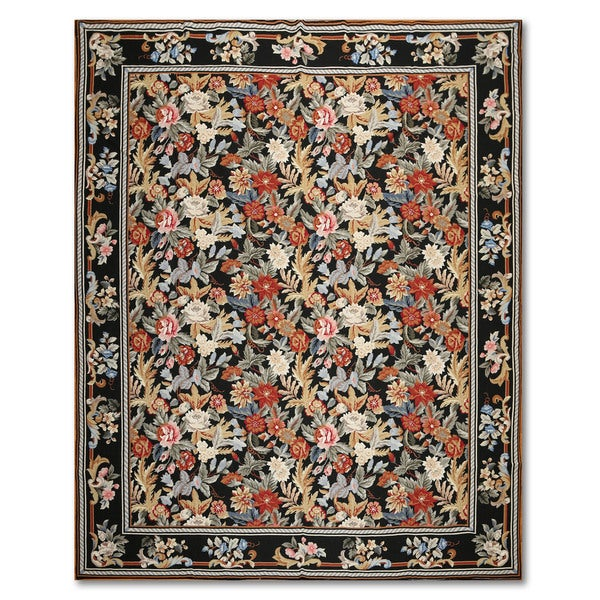 "Traditional Country Cottage Botanical Hand Woven Needlepoint Aubusson Area Rug (7'8""x10')"