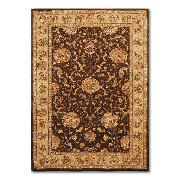 "Nourison Ornamental Wool & Silk Persian Oriental Area Rug Design 2206YRN - Chocolate Brown/Tan - 5'6"" x 8'6"""