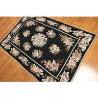 Transitional Country Cottage Needlepoint Aubusson Area Rug - 4'x6'
