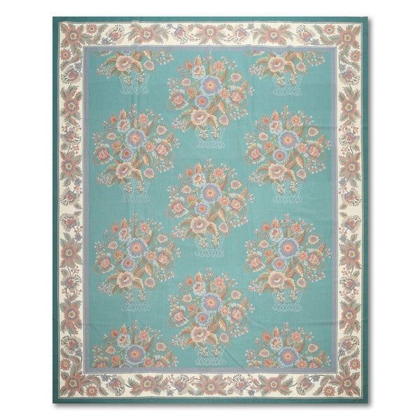 """Transitional Glam Hand Woven Needlepoint Aubusson Area Rug - 8'x9'9"""""""