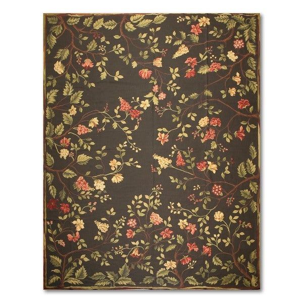 Botanical Country Cottage Hand Woven Needlepoint Aubusson Area Rug - 9'x11'8""