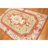 "Hand Woven Victorian Classic Needlepoint Aubusson Area Rug - 5'6""x8'"